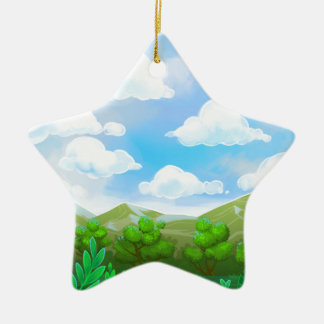 Green Nature Painting Christmas Ornament