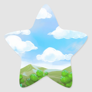 Green Nature Painting Star Sticker