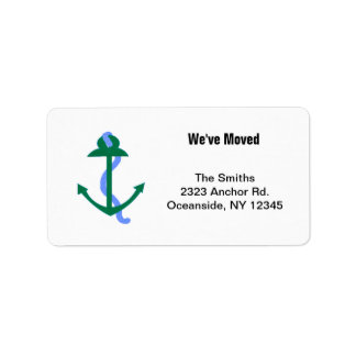Green Nautical Anchor Address Label