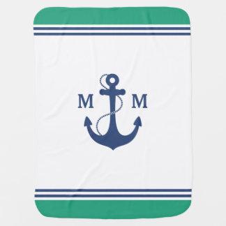 Green Nautical Anchor Monogram Baby Blanket