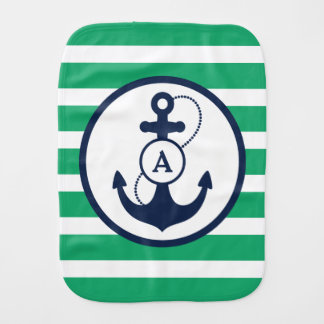 Green Nautical Anchor Monogram Burp Cloth