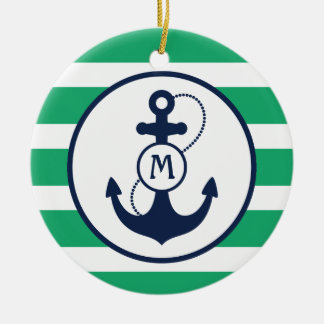 Green Nautical Anchor Monogram Christmas Ornament