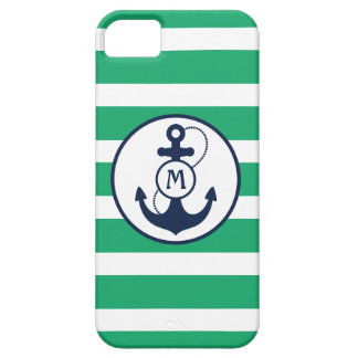 Green Nautical Anchor Monogram iPhone 5 Case