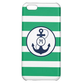 Green Nautical Anchor Monogram iPhone 5C Case