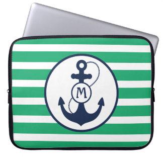 Green Nautical Anchor Monogram Laptop Sleeve