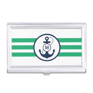 Green Nautical Anchor with Monogram Business Card Holder