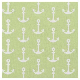 Green Nautical Fabric, Anchor Fabric, Fun Fabric