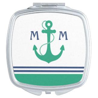 Green Nautical Monogram Compact Mirrors