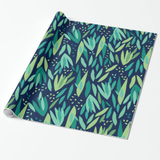 Green & Navy-Blue Tropical Leafs Pattern Wrapping Paper