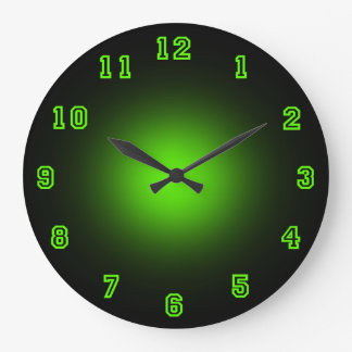 "Green Neon 10.75"" Large Clock"