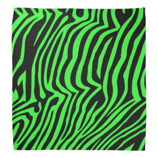 Green neon color zebra pattern bandana