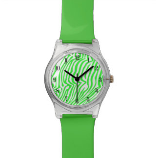 Green neon color zebra pattern watches