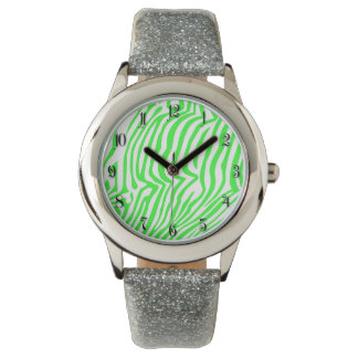 Green neon color zebra pattern wrist watches