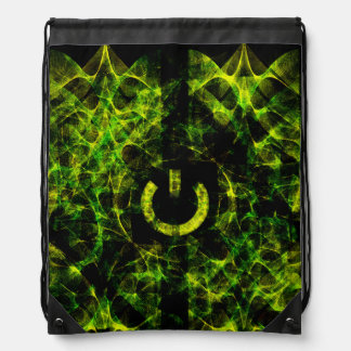 Green Neon Fire Drawstring Bags