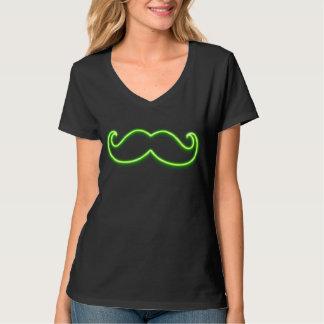 Green Neon Glow Mustache T-Shirt