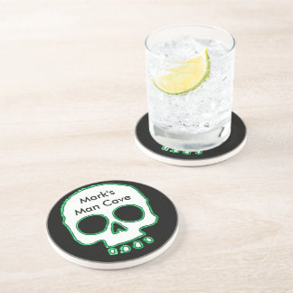 Green Neon Skull Add Name Man Cave Drink Coaster
