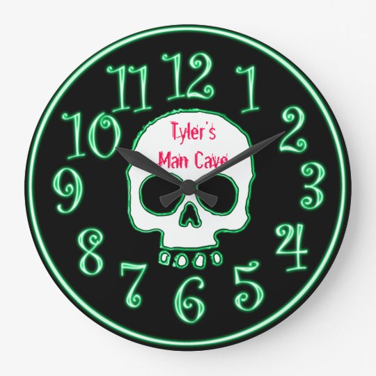 Green Neon Skull Custom Name Man Cave Clock