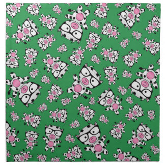 Green nerd cow pattern napkin