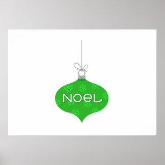 Green Noel Christmas Ornament Print