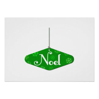 Green Noel Christmas Ornament Poster
