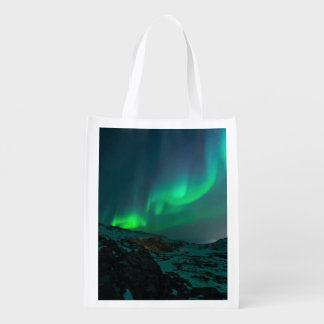 Green Northern Lights Reusable Grocery Bag