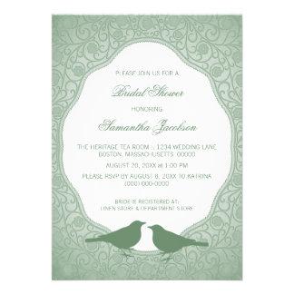 Green Nouveau Floral Frame Bridal Shower Invite
