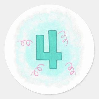 Green Number 4 Pink Swirls Birthday Stickers