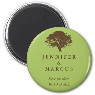Green oak tree wedding announcement save the date 6 cm round magnet