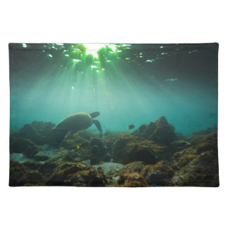 Green ocean lagoon sea turtle underwater placemat