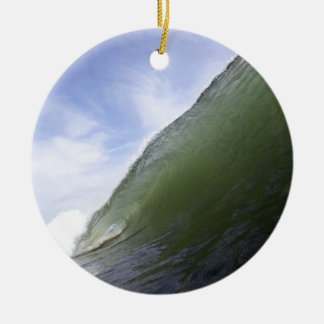 Green ocean surfing wave christmas ornament
