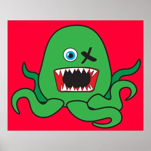 Green Octomonster Poster