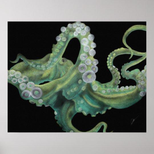 Green Octopus 20 x 16 Poster
