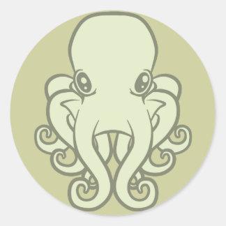 Green Octopus Round Sticker