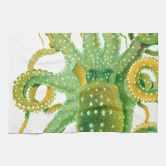 green octopus tea towel
