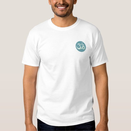 Green Ohm Om Design Embroidered T-Shirt