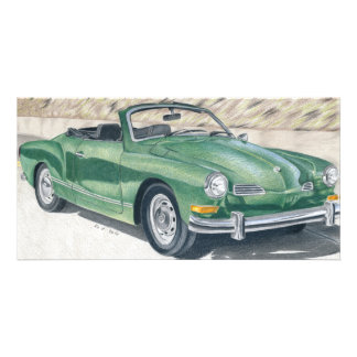 Green old Times - coloured pencil design Personalised Photo Card