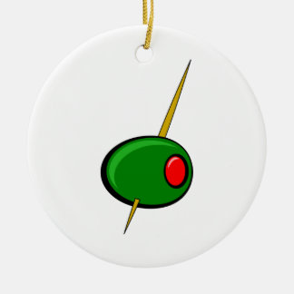 Green Olive with Red Pimento Christmas Ornament