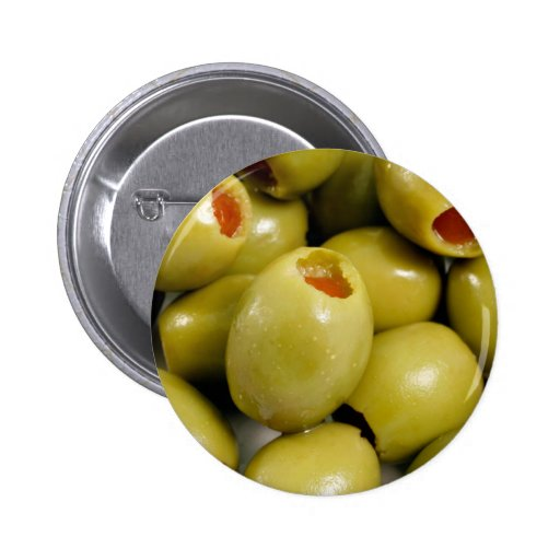 Green olives 6 cm round badge