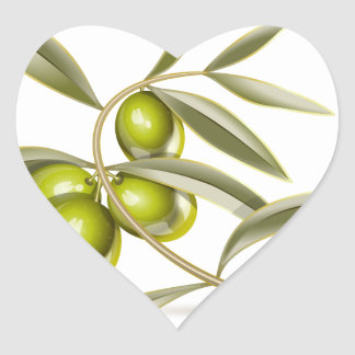 Green olives branch heart sticker