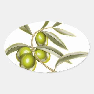 Green olives branch oval sticker