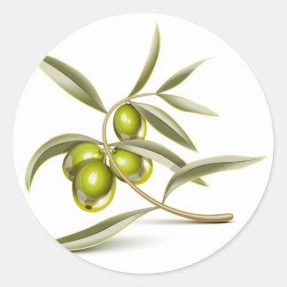 Green olives branch round sticker