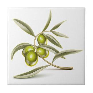Green olives branch tile