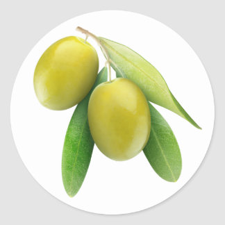 Green olives round sticker