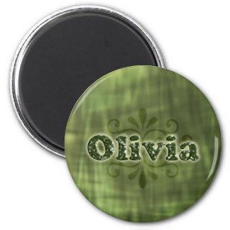 Green Olivia 6 Cm Round Magnet