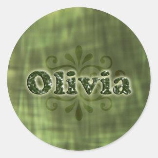 Green Olivia Round Sticker