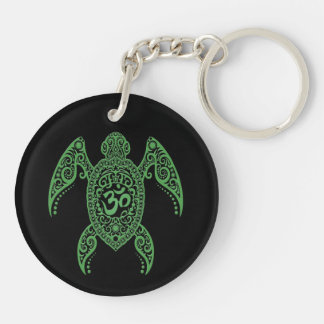 Green Om Sea Turtle on Black Double-Sided Round Acrylic Key Ring