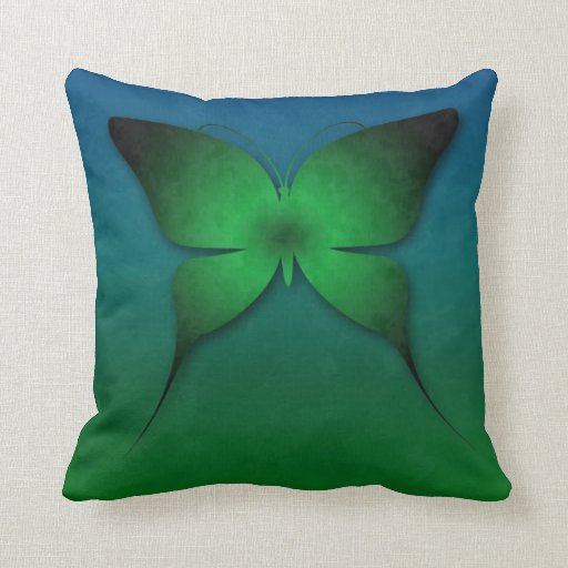 Green Ombre Butterfly Pillow
