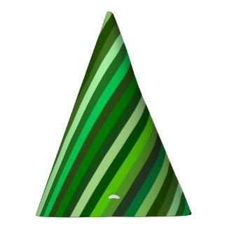 Green Ombre Stripes Party Hat