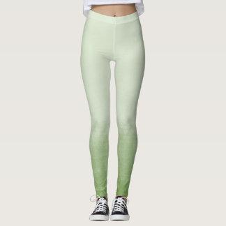 Green Ombre Watercolor Leggings