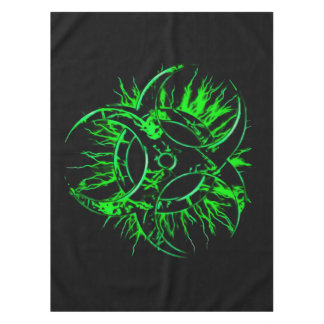 Green on black biohazard toxic warning sign symbol tablecloth